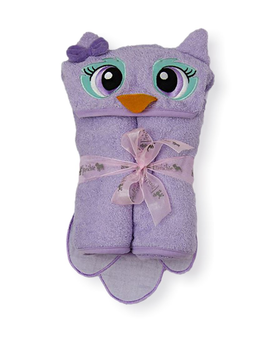 Owl Velour Toddler Towel, Purple, 54