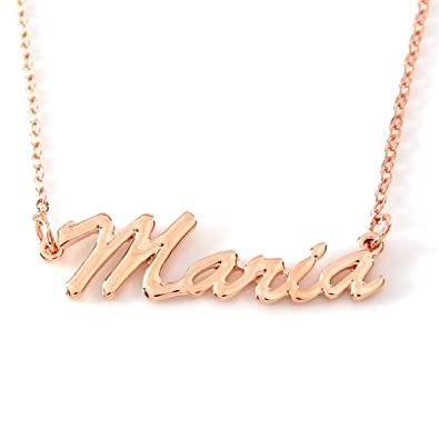 828d0b5ffe87b Zacria Personalized Name Necklace Maria 18K Rose Gold Plated