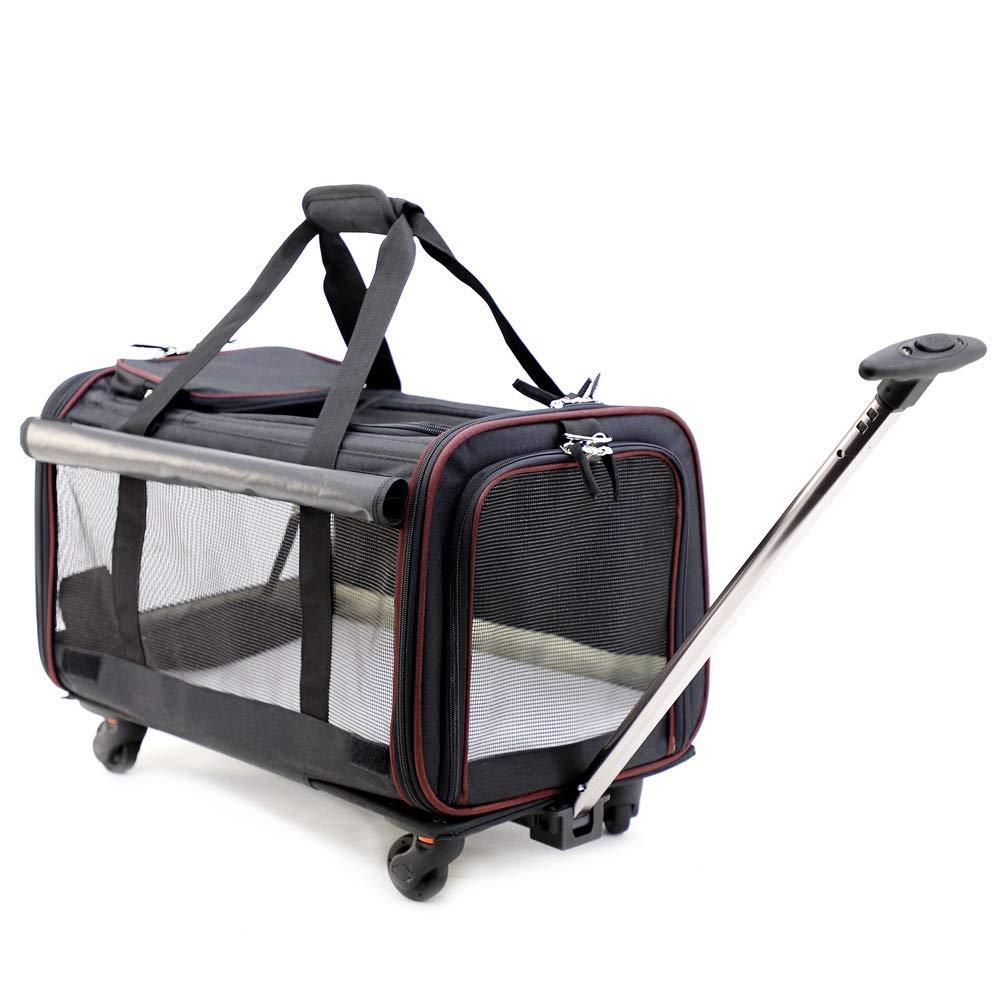 Black 30.53150cm Black 30.53150cm HYUE Foldable Metier and Big Pet Trolley Bag Breathable Pet Tug Trolley Cat Dog Bag (color   Black, Size   30.5  31  50cm)