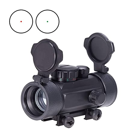 KINGSCOPE Airsoft Reflex Green/Red Dot Sight, Air Rifle Scope with Flip Up  Cover Cap, Quick Release Standard 20mm/22mm Picatinny Rail Mount - Obj