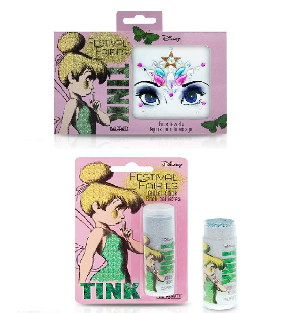 DISNEY FESTIVAL FAIRIES TINKERBELL GIFT SET GLITTER STICK & FACE GEMS STOCKING FILLER MAD BEAUTY
