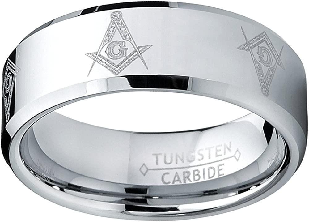Metal Masters Co 8MM Freemason Masonic Tungsten Carbide Ring Mens Bands Sizes 7 to 15