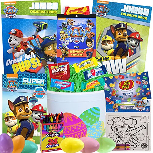 (Paw Patrol Easter Basket 21 Pc Kit Easter Eggs, Easter Candy, Paw Patrol Coloring Activity Books, Jelly Belly Jelly Beans, Paw Patrol Puzzle, Paw Patrol Reward Stickers, Crayons, Easter Grass and More)