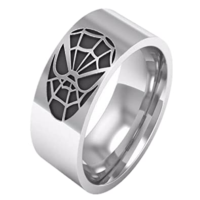 10mm Men Spiderman Stainless Steel Ring Comfort Fit Wedding