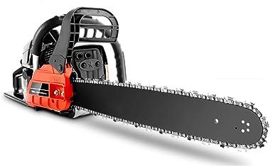 "COOCHEER Ladyiok Chainsaw 62CC 20"" Powerful Gas Chainsaw 2 Stroke Handed Petrol Chain Saw"