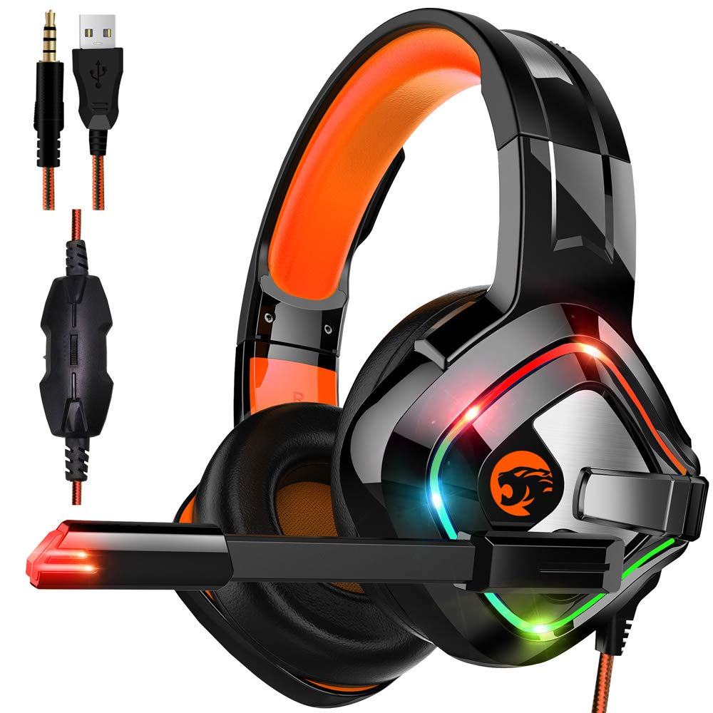 STOGA Professional Gaming Headset with 50MM Comfy Earmuffs, Over Ear Headphones with Noise Canceling Microphone & LED Light, Compatible with PS4, Xbox One, Switch, PC, PS3, Mac, Laptop by STOGA