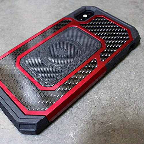 Rokform Fuzion Pro Series [iPhone X/XS] Protective Aluminum & Carbon Fiber Magnetic case with Twist Lock Insert Included (Red) by Rokform (Image #6)