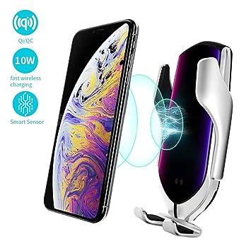 BETTERSHOP [Qi-Certified] Cargador inalámbrico automático para automóvil Cargador rápido de 10 W y soporte telefónico Compatible con iPhone ...