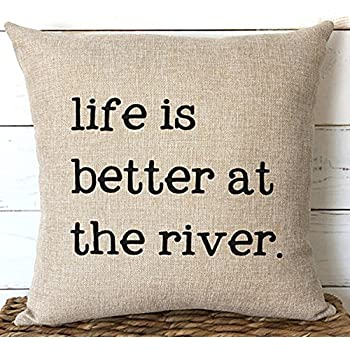 FaceYee Cushion Covers 18x18 River Cabin Chic Decor Pillowscovers for Couch Farmhouse Decor Gift for Parents Rustic Pillowcase Decorative Color:River
