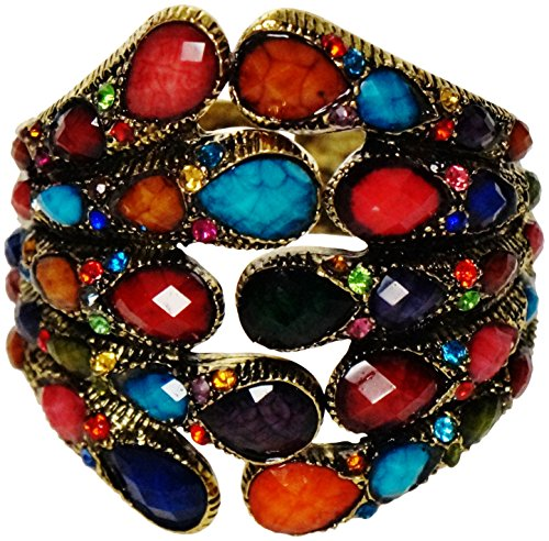 Bracelet - Antiqued Gold Tone Multi Colored Rhinestone and Resin Jeweled Cuff - Ricki's Jeweled (Wonder Woman Cuff Bracelet)