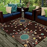 "Orian Rugs Indoor/Outdoor Circles Revati Brown Area Rug (3'10"" x 5'5"")"