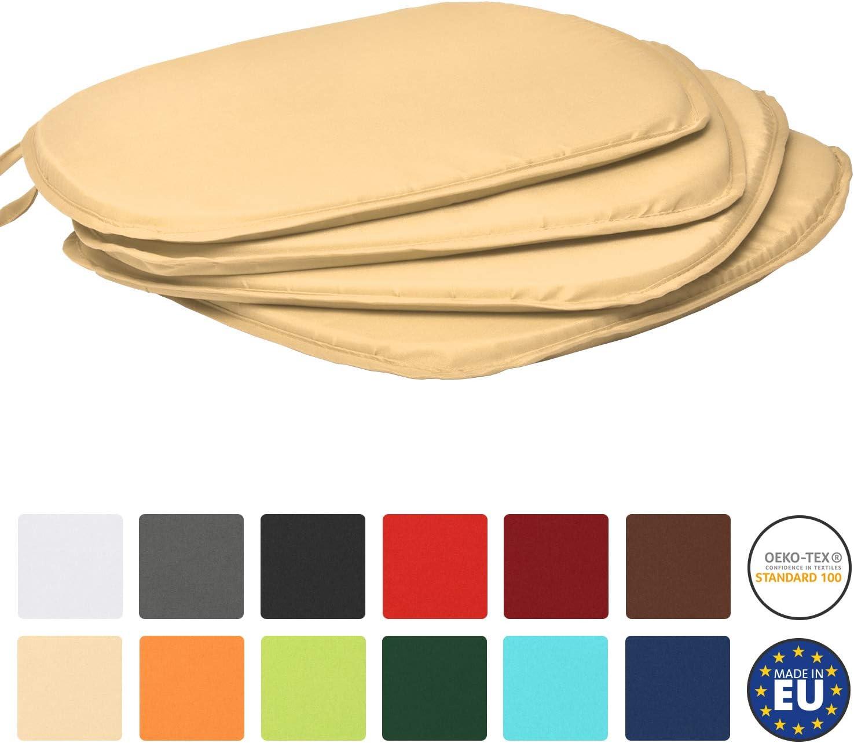 Coussins Confortable Anthracite Beautissu Lot de 4 galettes de chaises Lara Unie Color/é 38x38x1,5 cm