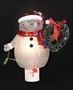 "6.25"" LED Lighted Jolly Winter Snowman with Wreath Christmas Night Light"