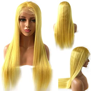 XRS Hair Wig Yellow Color Peruvian Lace Front