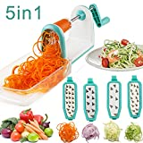 zucchini spaghetti slicer - Vegetable Spiralizer, Upintek 5 Blade Spiral Vegetable Slicer with Food Container and Strong Hold Suction for Spiral Vegetable Cutter, Veggie Pasta Spaghetti Slicer and Zucchini Noodles Maker(Blue)