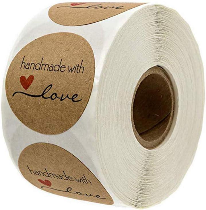 Haobase - 500 pegatinas de papel kraft de papel kraft redondas hechas a mano con pegatinas de amor para hornear bolsas de regalo de boda Acción de Gracias