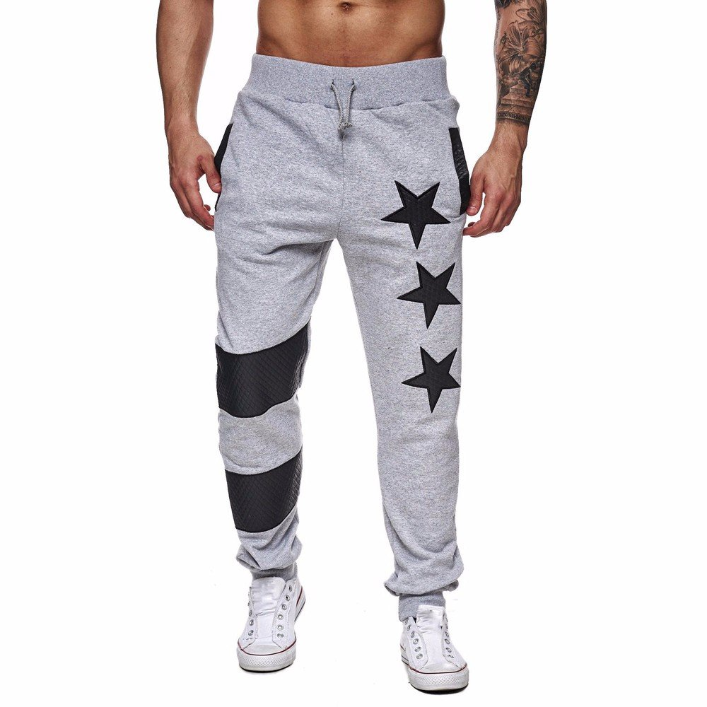 Farjing Men's Sweatpant Clearance, Men Casual Jogger Dance Sportwear Baggy Slim Designed Pants Slacks Sweatpant(L,Gray)
