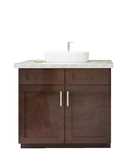 Shaker Style Real Wood Single Sink Bathroom Vanity (36u0026quot; W, ...