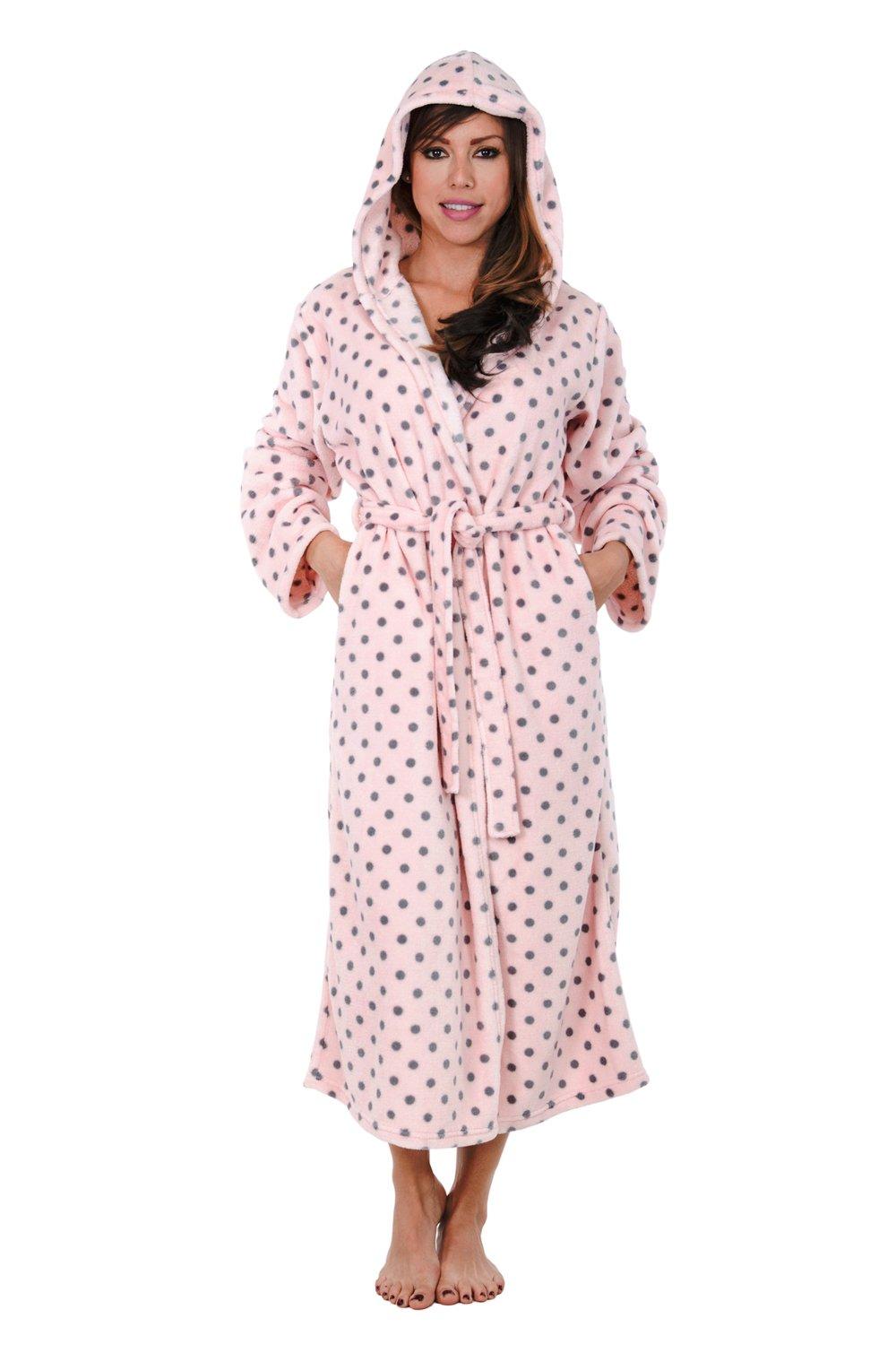 Hoodie Robe Hooded Robe Spa Bathrobe Hoody Robe Long Robe … (Large, Pink Polka Dot) by Love This Robe (Image #3)