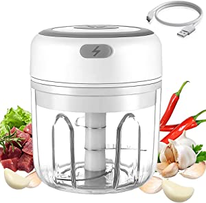 Electric Mini Garlic Chopper, Wireless Portable Garlic Chopper, Powerful Garlic Blender, Mini Chopper Food Processor with USB Charging for Meat, Baby Food, Onion, Vegetable Salad, BPA Free (250 ML)