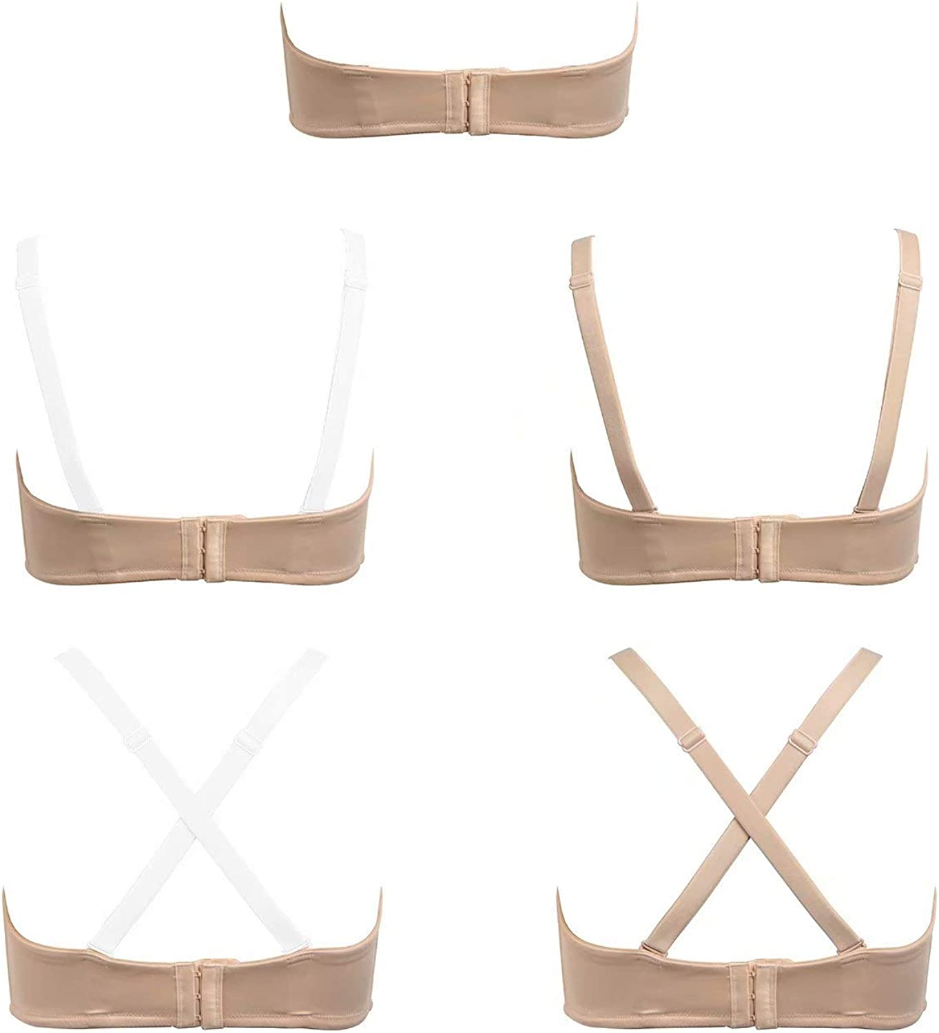 Vgplay Womens Underwire Strapless Minimizer Bra with Clear Straps and Removable Pads Smooth Convertible Bras Plus Size #6880