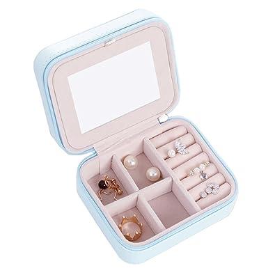 LY4U Pequeña Caja de Joyería de Viaje de Cuero de Imitación Caja de Almacenamiento de Exhibición