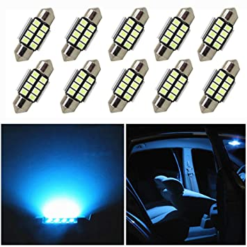 Super Bright White Festoon Canbus with 8-2832-SMD Chips 6411 6413 6418 C5W LED Bulbs for Car Interior Dome Map Door Courtesy License Plate Lights DC 12V Grandview 10pcs 31MM C5W LED Bulbs