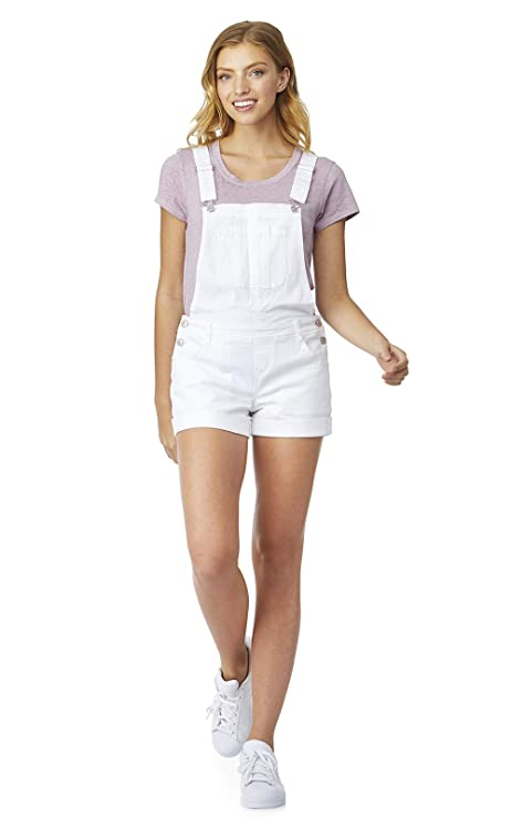 WallFlower Women's Juniors Denim Shortalls in Bright White, Large best juniors' overalls