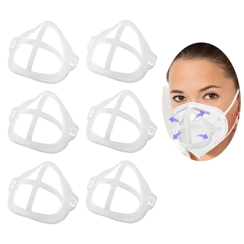 TOYMIS 6 Piezas Soportes 3d Lavables Reutilizables Marco De Soporte De Cubierta Facial De Silicona Para Soportes Internos De Máscara, Protección De Nariz y Boca (Marfil)