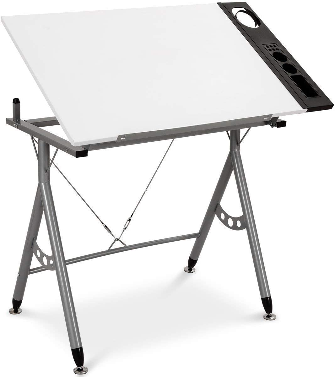Tangkula Adjustable Drafting Table Art Craft Drawing Desk Folding with Side Tray White