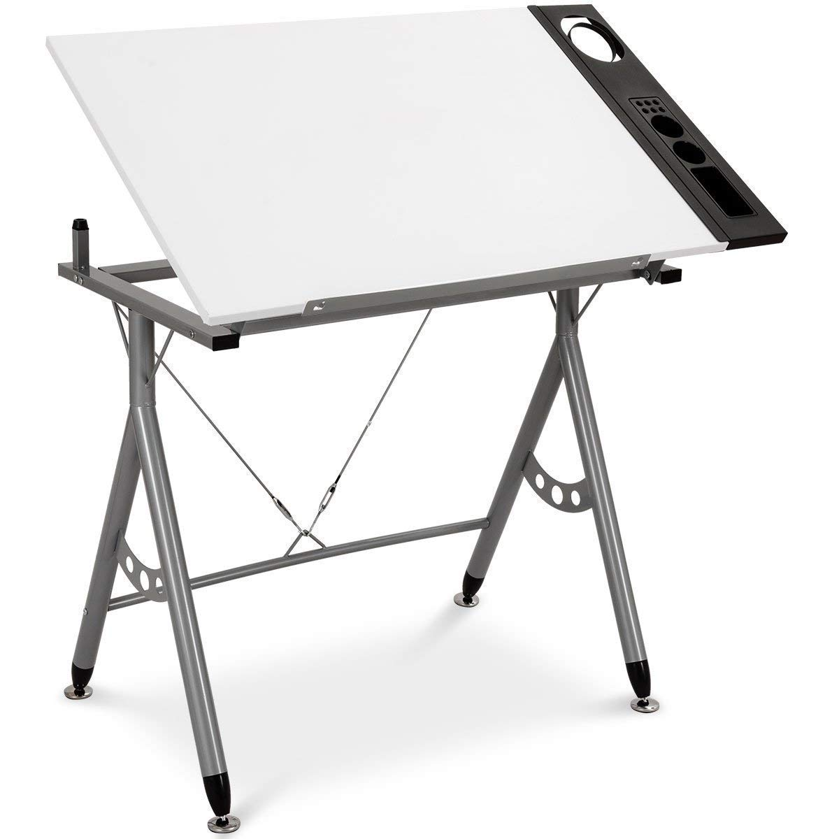 Tangkula Adjustable Drafting Table Art & Craft Drawing Desk Folding with Side Tray White by Tangkula