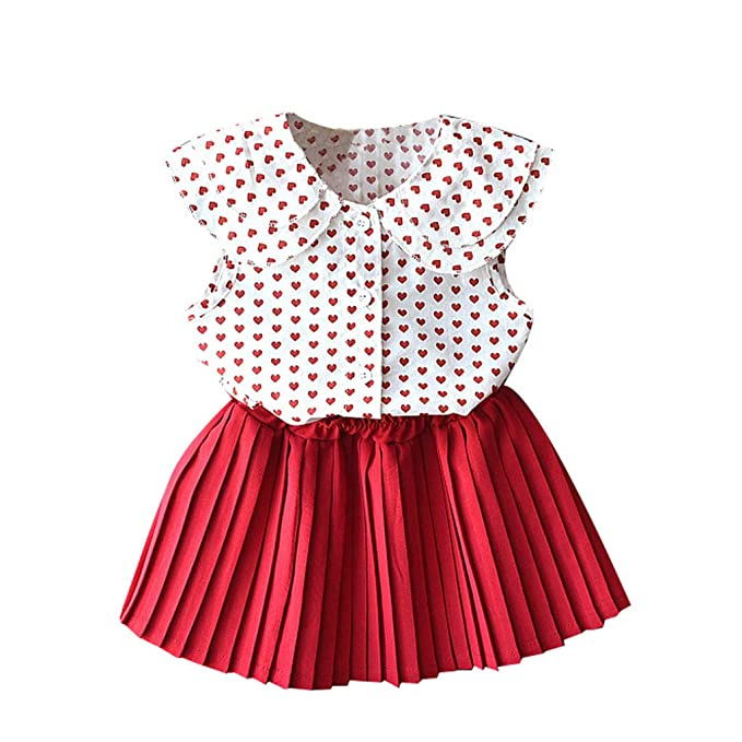 2-7Years,SO-buts Kids Girls Outfits Summer Clothes Cherry Print Sling T-Shirt Vest Top+Shorts Lovely Set