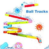 Bath Toys Slide Splash Water Ball Track Stick to Wall Bathtub for Toddlers DIY Waterfall Pipe and Tubes Tub Toys with Suction Wheels Gift for Kids Boys Girls Age 3 4 5 6 7 Years Old