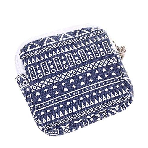 Women Girl Cute Sanitary Pad Mini Wallet Holder Zip Coin Purse Clutch Handbag bags Pouch Key Holder (Blue)