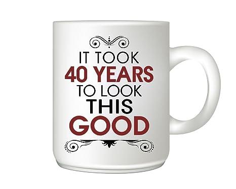Amazon.com: Taza con aspecto de mercado Tomó de 40 años a ...