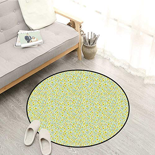 Green Round Carpet Doodle Style Cute Kids Girls Pattern with Daisy Flower Blooms Children Crawling Bedroom Rug 2'7