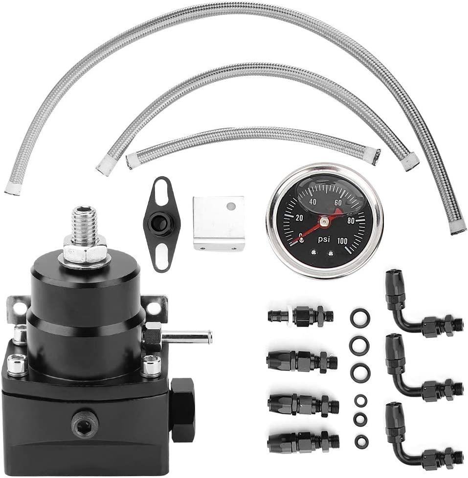 Universal 6AN Oil Gauge Aluminum Fuel Pressure Regulator Kit 0-100psi