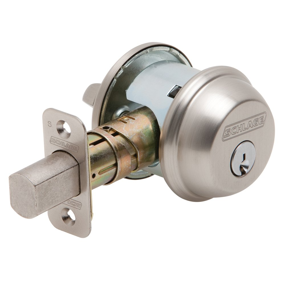 Schlage B60N 619 Single Cylinder Satin Nickel Deadbolt - Door Dead Bolts - Amazon.com