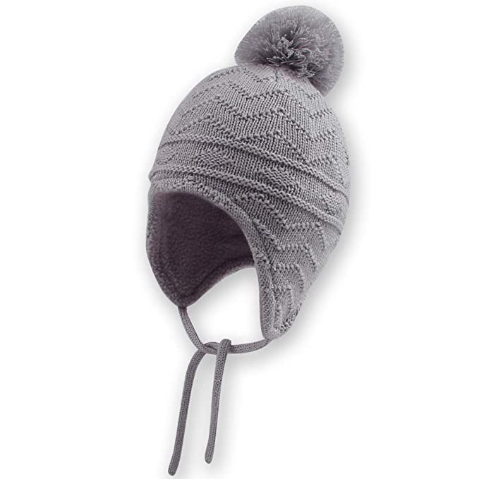 Infant Toddler Girls Boys Soft Warm Knit Hat Kids Winter Hat with Fleece Lining Baby Beanie Earflaps Hat