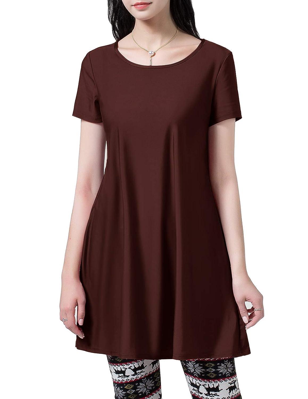 Coffee Homrain Women's Summer Comfy Casual Short Sleeve TShirt Loose Swing Tunic Dress