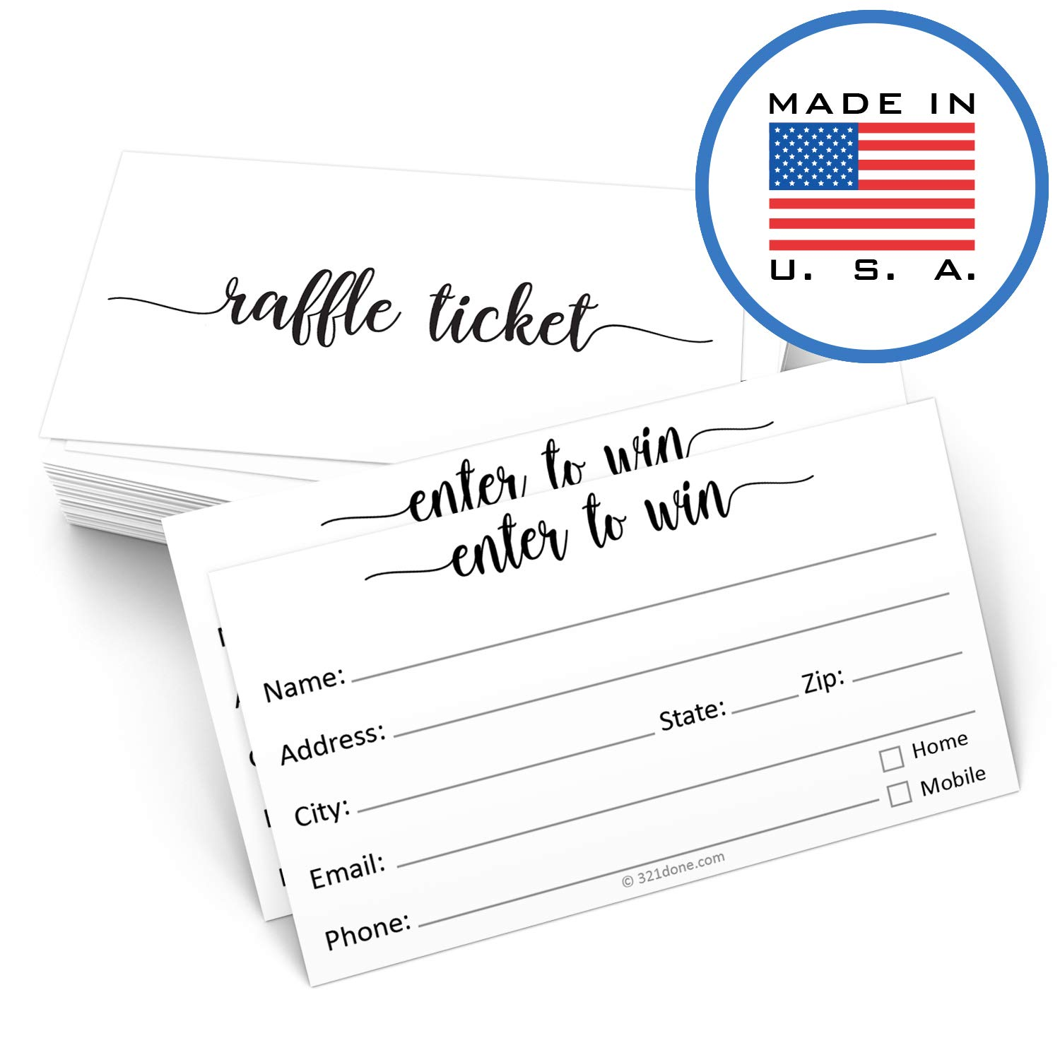 321Done Raffle Tickets with Name Address Phone Email (50 Cards) 3.5'' x 2'', Enter to Win Entry Form for Contests, Drawings, Raffles, Lotteries Prize Game, White