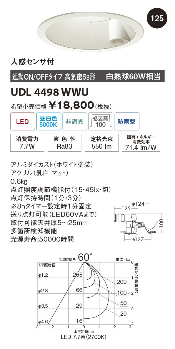 ユニティ LED住宅照明 ダウンライト 人感センサー付 白熱球60W相当 昼白色 ランプ一体型 Home Eco Down Light UDL4498WWU B07BF4RQRN