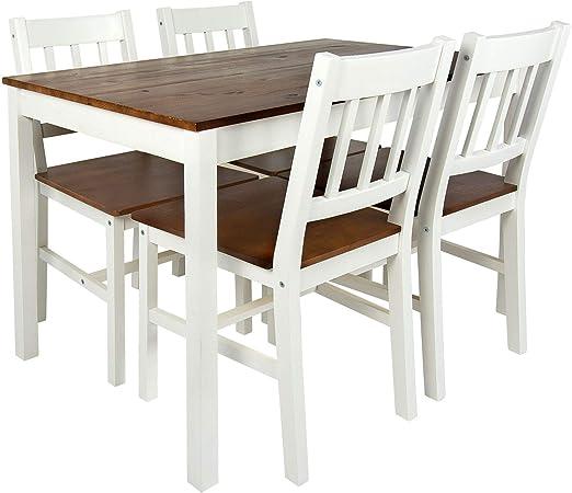 Merkell Conjunto de Madera Mesa y 4 sillas, a la Sala de Estar ...