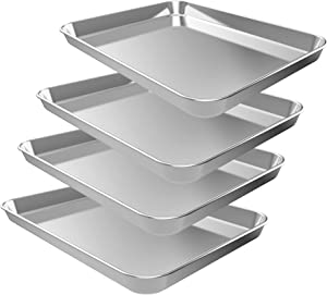 4PCS Baking Sheets, CEKEE Stainless Steel Nonstick Bakeware Set Cookie Pan Toaster Oven Tray for Housewarming, Wedding, Chefs Bakers Kitchen Gift(10 Inch)