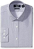Original Penguin Men's Slim Fit Box Print Dress Shirt with Point Collar, Grey/Navy Box Print, 17.5 34/35