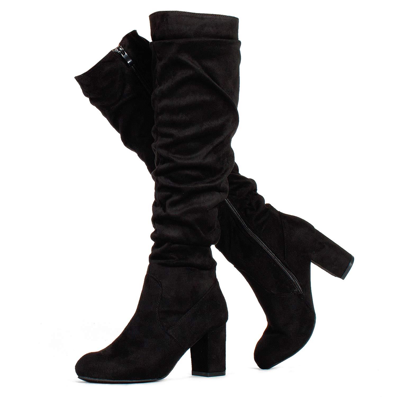 Slim Calf Black Su ROF Women's Fashion Comfy Vegan Suede Block Heel Side Zipper Thigh High Over The Knee Boots