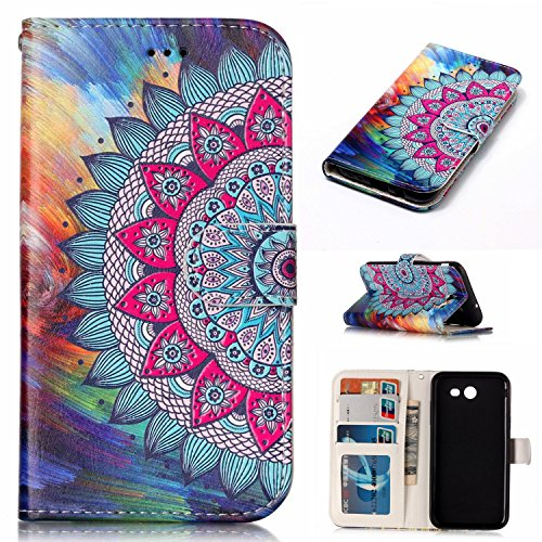 Galaxy J3 Prime Case,Cell Phone Case Samsung Galaxy J3 Wallet Case for Women,Flip stand Samsung J3 Phone Cases with Card Holder,Flower Samsung J3 Eclipse Case for Samsung Galaxy J3 Emerge Case Mandala
