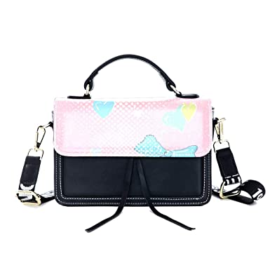 0640f776334a Fashion Unique Handbag Heart-shaped Bow Pink Girl Love Print Shoulder Bag  Top Handle Tote