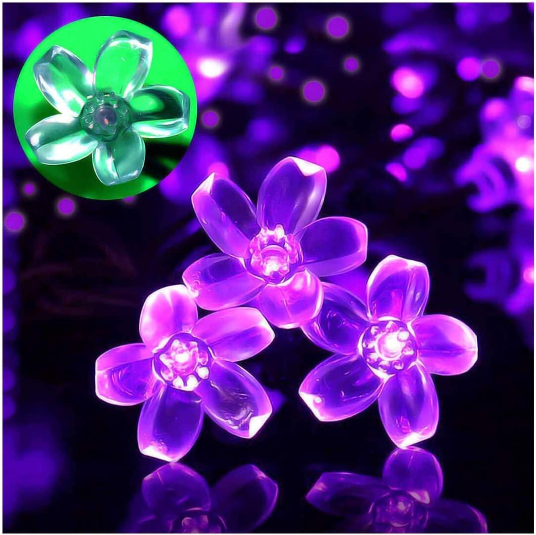 SEMILITS Patio Decor Solar Powered String Lights Outdoor Waterproof 23ft 50 LED Purple Flower Fairy Light Home Decorative for Xmas Tree Garden Fence Yard