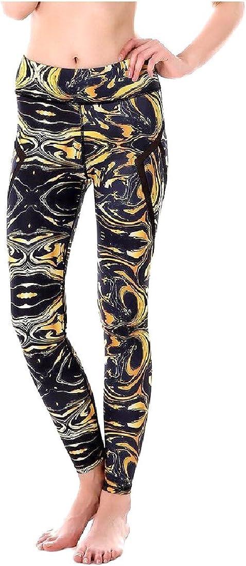 YUSKYWomen YUSKY Women Mesh Stretch Foldover Waist Work-Out Leggings Yoga Pants